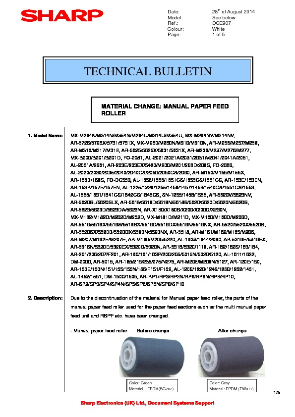 sharp ar rp3n serv man5 technical bulletin view online or rh servlib com sharp ar 5623n service manual Sharp AR- M355N