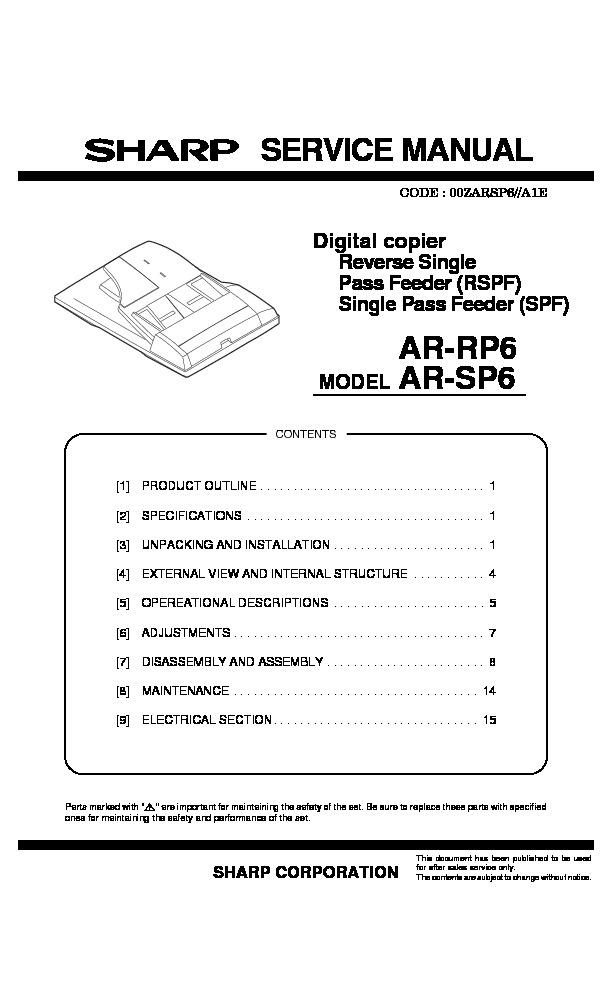 sharp ar sp6 serv man12 technical bulletin view online or rh servlib com