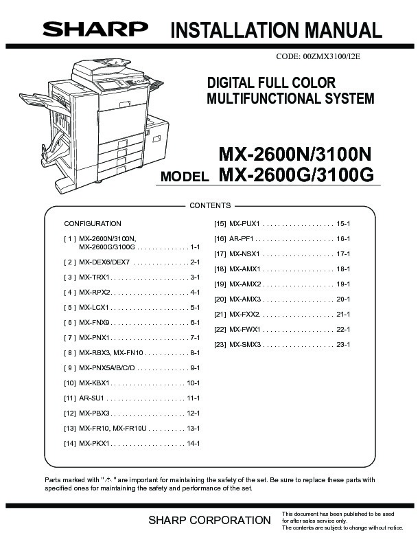 sharp mx 2600n mx 3100n mx 2600g mx 3100g serv man8 service rh servlib com Sharp MX 2600N DefaultPassword Sharp MX 2600N Manual