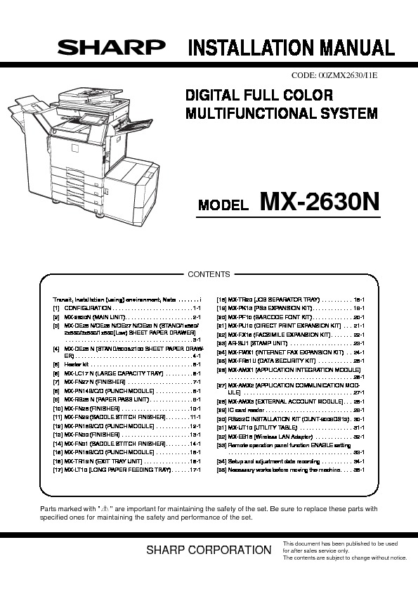 Sharp mx 2630 service manual view online or download repair manual mx 2630 service manual publicscrutiny Choice Image
