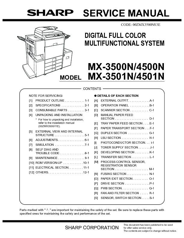 sharp mx 3500n mx 3501n mx 4500n mx 4501n serv man9 service rh servlib com  sharp mx 4501n manual pdf