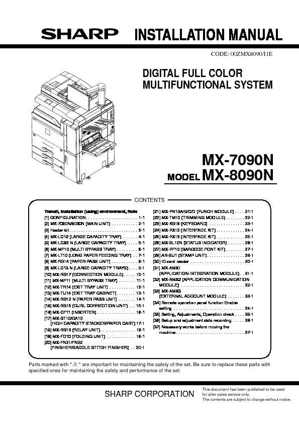 Sharp mx 7090n mx 8090n servn3 service manual view online or mx 7090n mx 8090n servn3 service manual publicscrutiny Choice Image