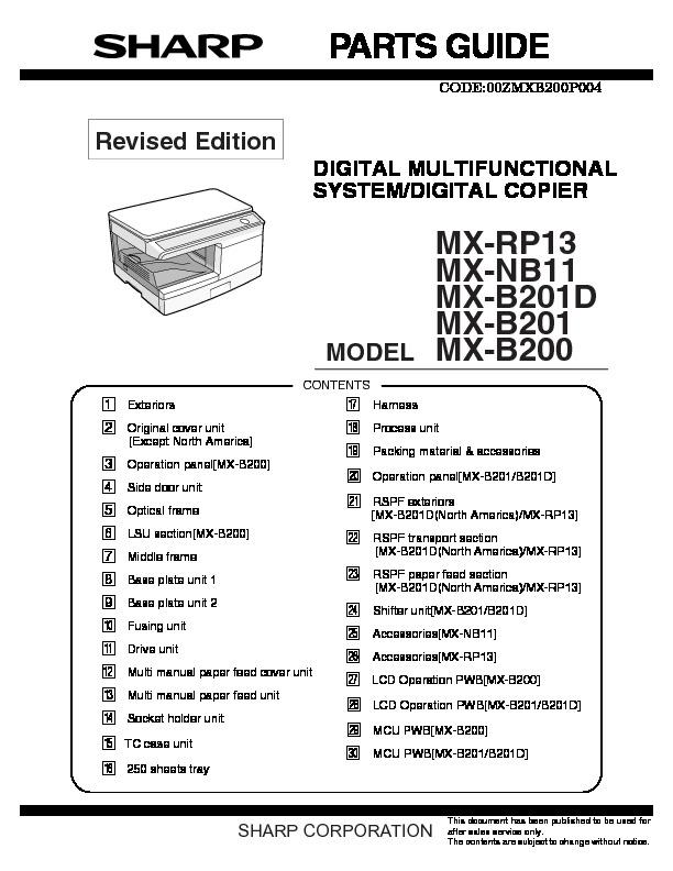 sharp mx b200 serv man16 technical bulletin view online or rh servlib com