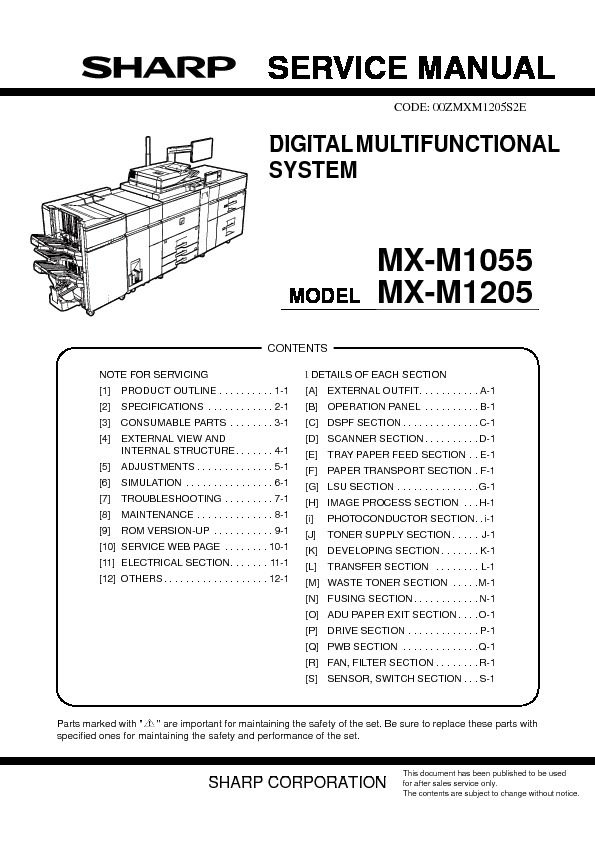 sharp mx m1055 mx m1205 service manual view online or download rh servlib com sharp parts manual sharp tv repair manual