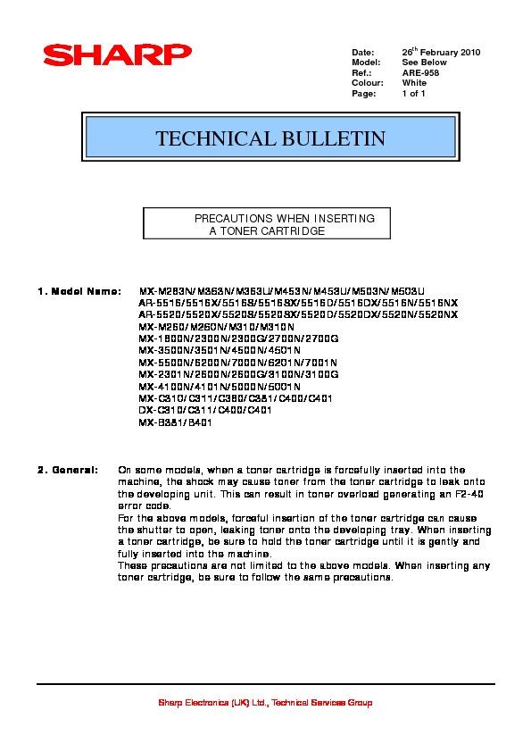sharp mx m850 serv man76 technical bulletin view online or rh servlib com sharp ar 5520 service manual pdf Sharp Co. AR