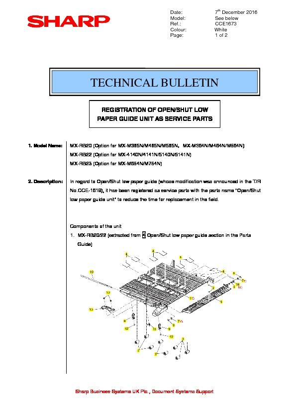 sharp mx rb20 serv man3 technical bulletin view online or rh servlib com RB20 S13 Nissan SR20DET