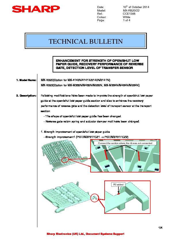 sharp mx rb20 serv man5 technical bulletin view online or rh servlib com RB20 Engine RB20 Engine