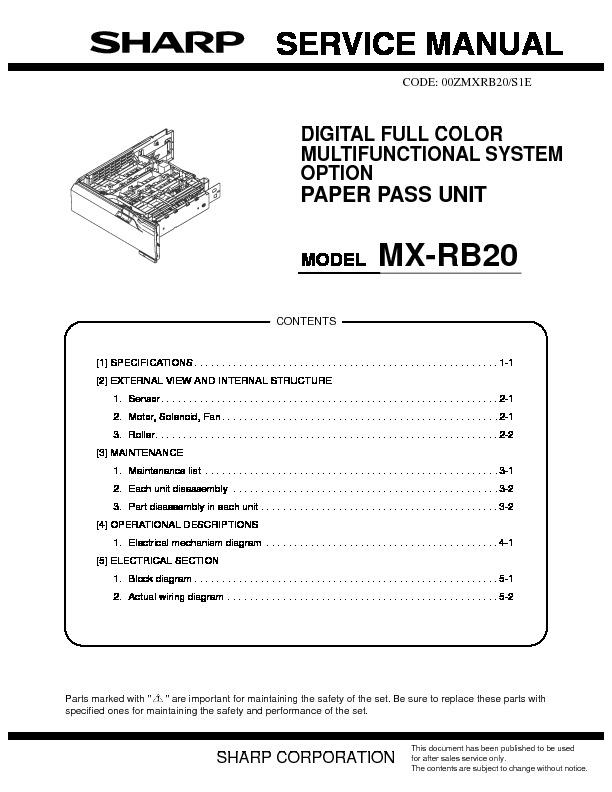 sharp mx rb20 service manual view online or download repair manual rh servlib com RB20DE RB20 S13