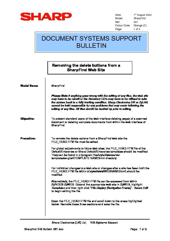 Sharp SHARPFIND V4 (SERV.MAN19) Technical Bulletin — View online or ...