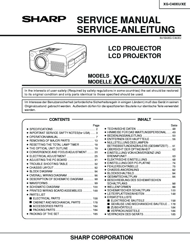 Sharp XG-C40XE (SERV.MAN19) User Guide / Operation Manual — View ...