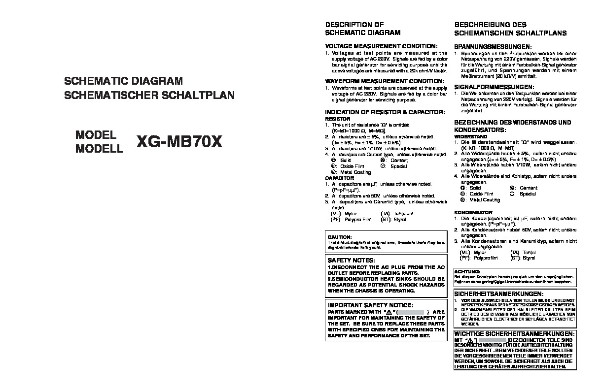 Sharp XG-MB70X (SERV.MAN19) Service Manual — View online or Download ...