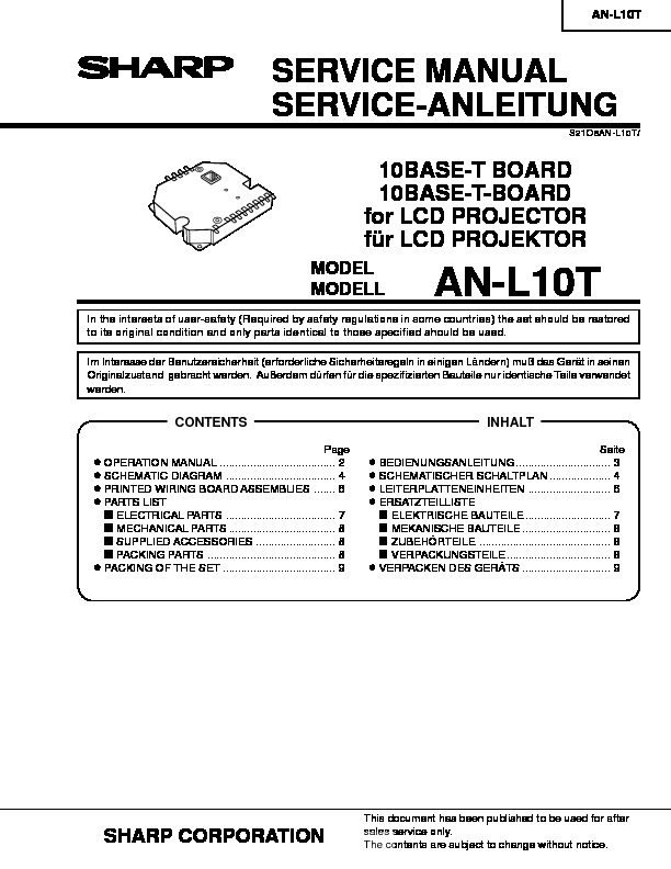 Sharp XG-V10XE (SERV.MAN24) Parts Guide — View online or Download ...