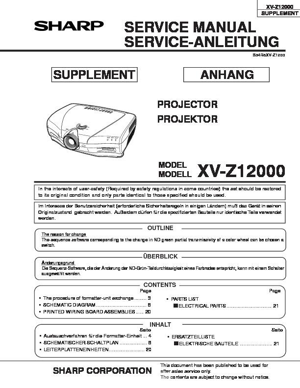 Sharp XV-Z12000 (SERV.MAN14) Service Manual — View online or ...