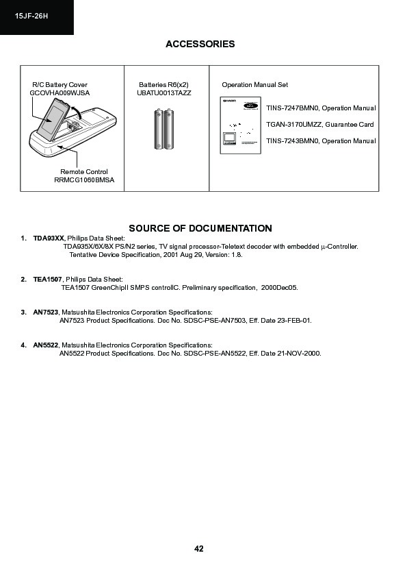 Sharp 15JF-26H (SERV.MAN14) Service Manual — View online or Download ...