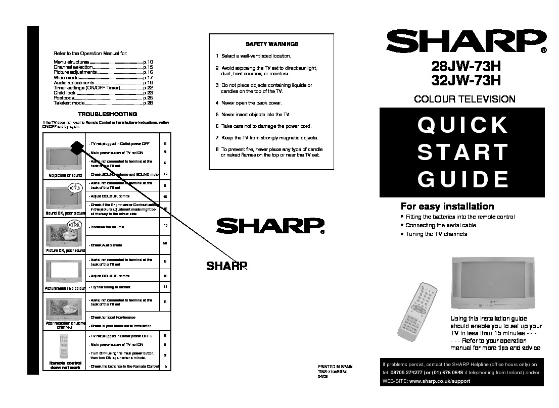 sharp tv service manuals