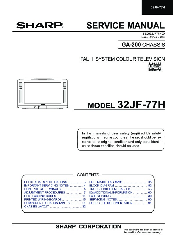 Sharp 32JF-77 (SERV MAN15) Service Manual — View online or
