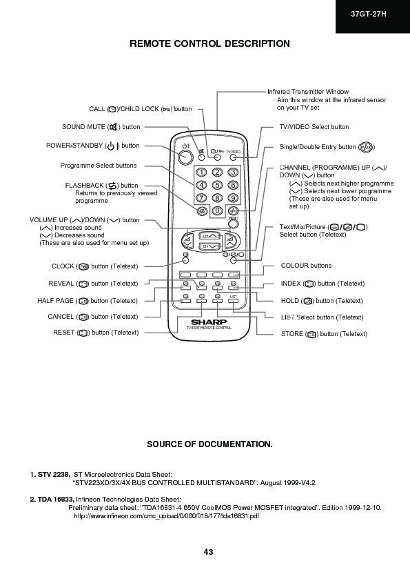 Sharp 37GT-27H (SERV MAN14) Service Manual — View online or