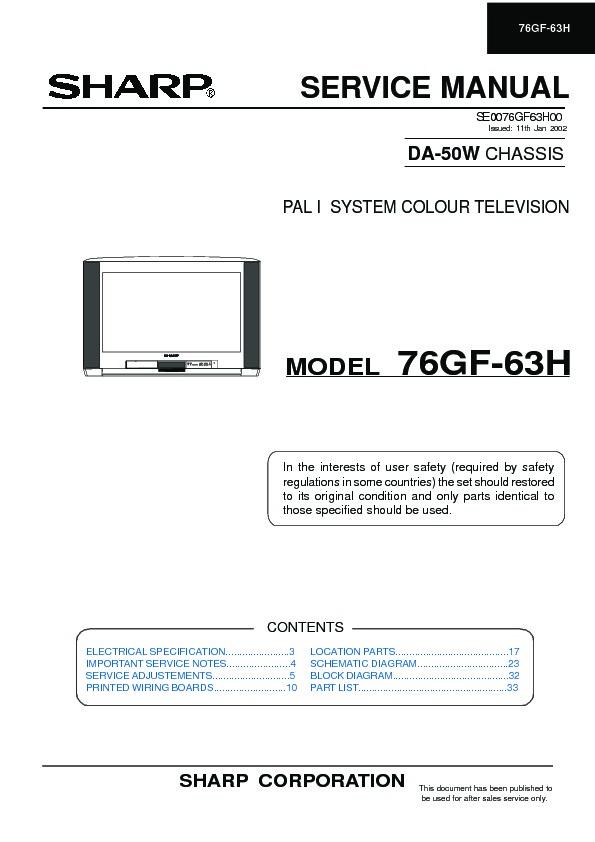 sharp 76gf 63 specification view online or download repair manual rh servlib com manuel de smart tv sharp manual de tv sharp aquos en español