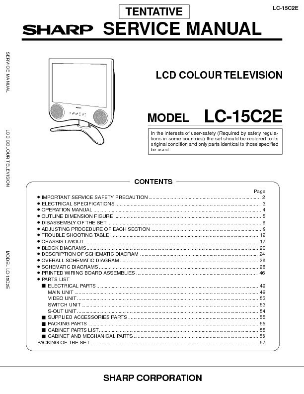 Sharp LC-15C2E (SERV.MAN9) Service Manual — View online or Download ...