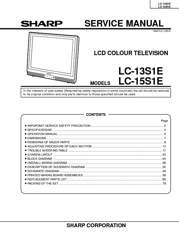sharp lc 15s1e service manual view online or download repair rh servlib com sharp tv service manual pdf sharp led tv service manual