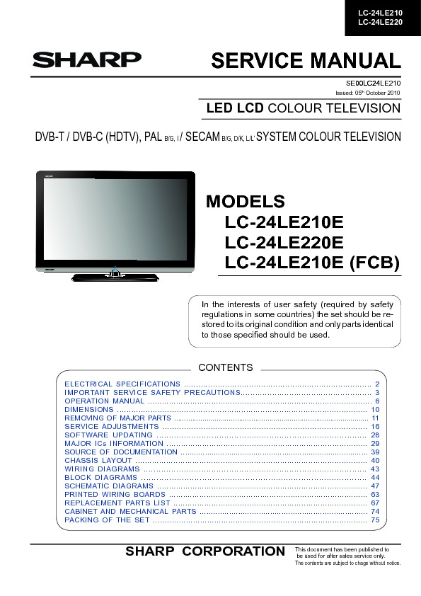 sharp lc 24le210e service manual view online or download repair rh servlib com Reset Sharp AQUOS HDTV Sharp Aquos TV Problems