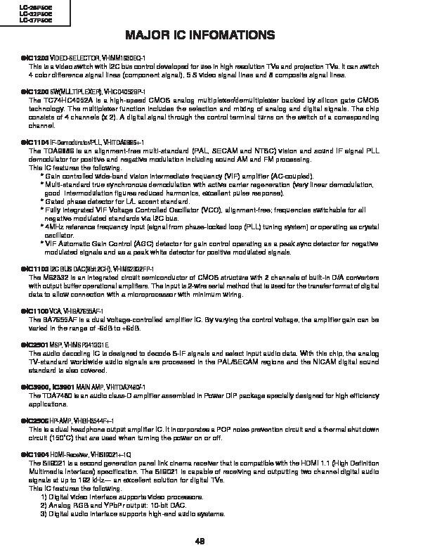 Sharp LC-26P50E (SERV MAN10) Service Manual — View online or