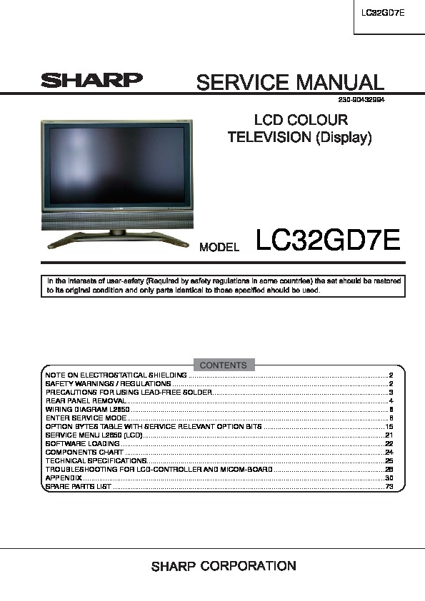sharp lc 32gd7e serv man2 service manual view online or download rh servlib com Sharp AQUOS LCD TV 27 Sharp Aquos TV Problems