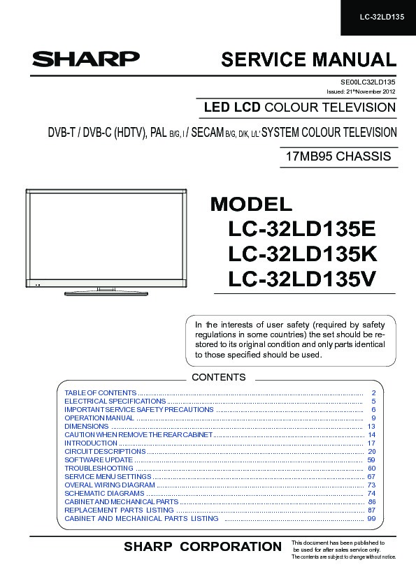sharp lc 32ld135k serv man2 service manual view online or rh servlib com sharp tv 21 service manual sharp led tv service manual