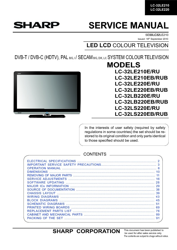 sharp lc 32le210eb service manual view online or download repair rh servlib com Big Screen TV Repair Manuals colour tv repair manual