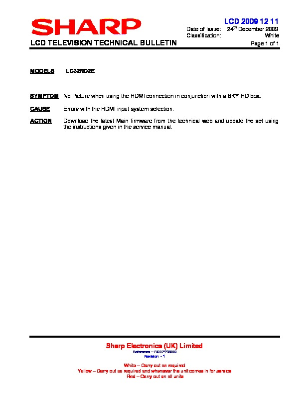Sharp LC-32RD2E (SERV MAN17) Technical Bulletin — View online or