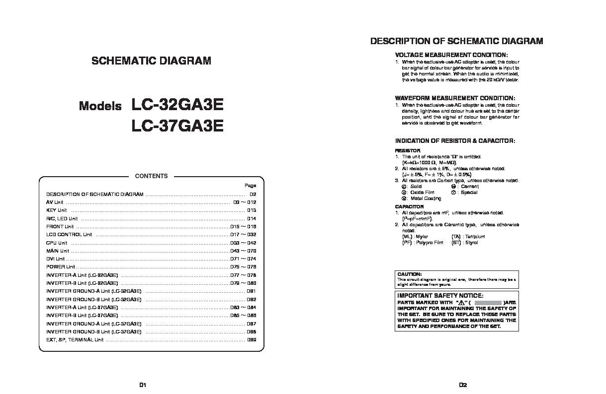 Sharp Lc 37ga3e Servman23 Service Manual View Online Or Circuit Tv Schematic Diagrams Led Servman13