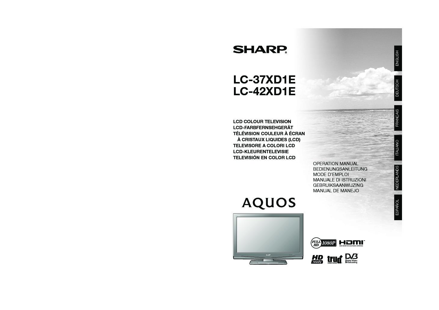 Sharp LC-37XD1E (SERV MAN10) User Guide / Operation Manual