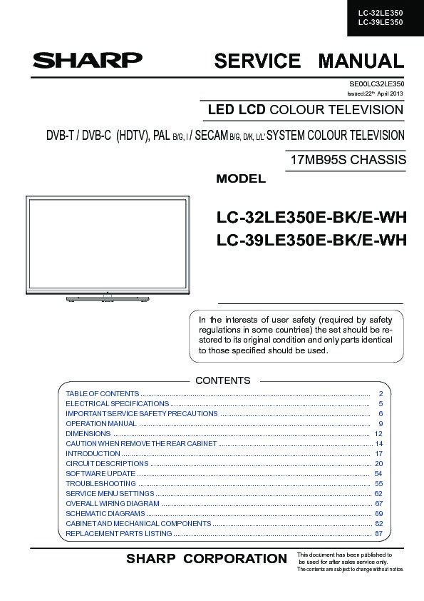 Sharp Lc 39le350e Service Manual View Online Or Download Repair Manual April 2013