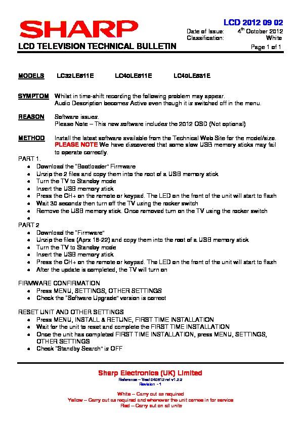 Sharp LC-40LE511E (SERV MAN11) Technical Bulletin — View