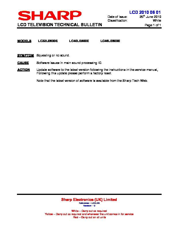 sharp lc 40le600e serv man17 technical bulletin view online or rh servlib com Customer Service Books Parts Manual