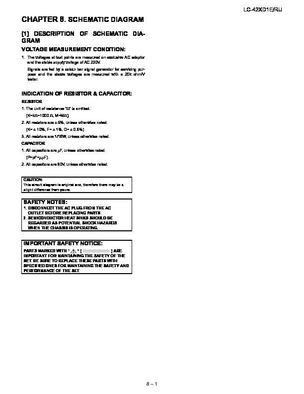 Sharp Lc 42xd1e Serv Man9 Service Manual View Online Or Download Repair Manual Schematic Diagram