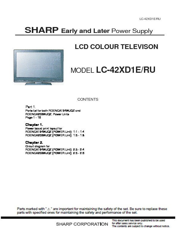 Sharp Lc 42xd1e Service Manual View Online Or Download Repair Manual Power Supply Update