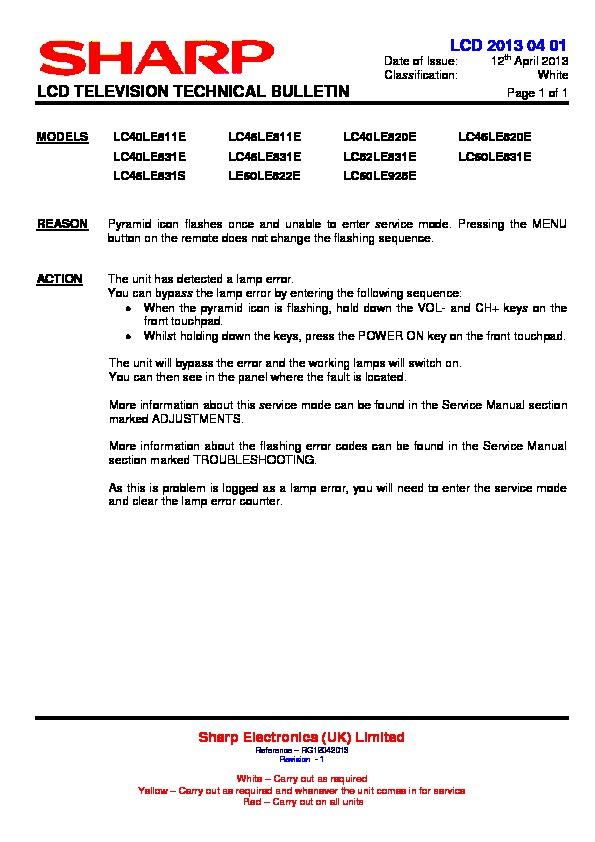 Sharp LC-46LE811E (SERV MAN18) Technical Bulletin — View