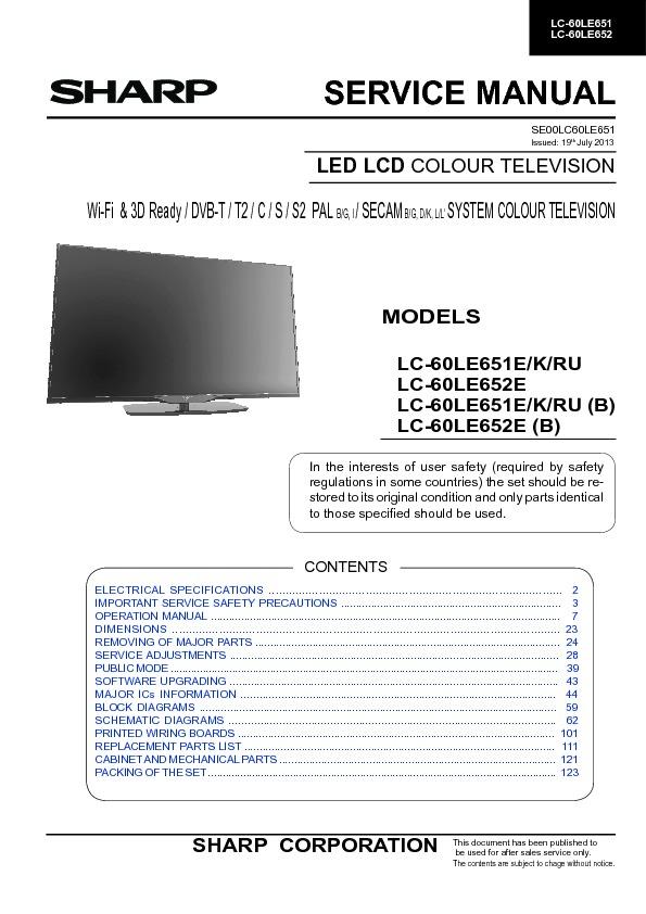sharp lc 60le651k serv man3 service manual view online or rh servlib com Sharp AQUOS Troubleshoot Sharp AQUOS 60 Inch TV