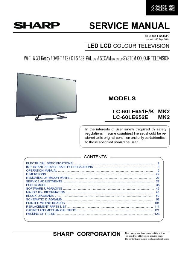 sharp lc 60le651kmk2 service manual view online or download repair rh servlib com Service ManualsOnline Chilton Repair Manual