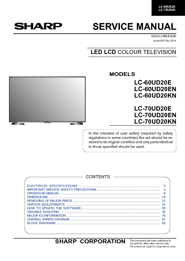 Sharp LC-70UD20KN (SERV MAN4) Service Manual — View online