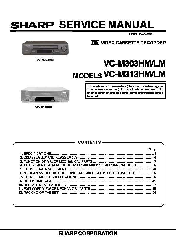 Sharp Vc M303 Servn14 Service Manual View Online Or Download