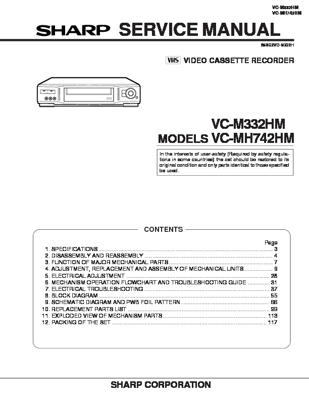 Sharp Vc M332hm Specification View Online Or Download Repair