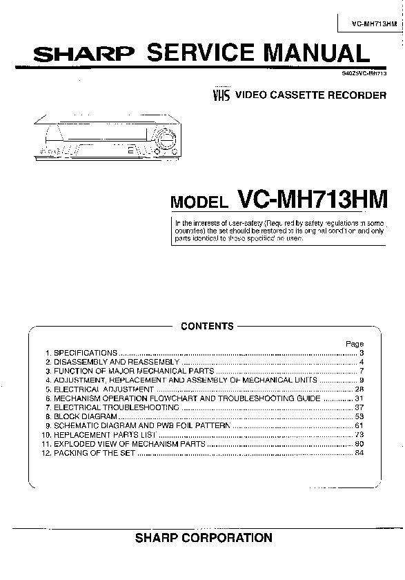 sharp vc mh713 serv man9 service manual view online or download rh servlib com Hitachi VCR Diagrams RCA VCR Schematic