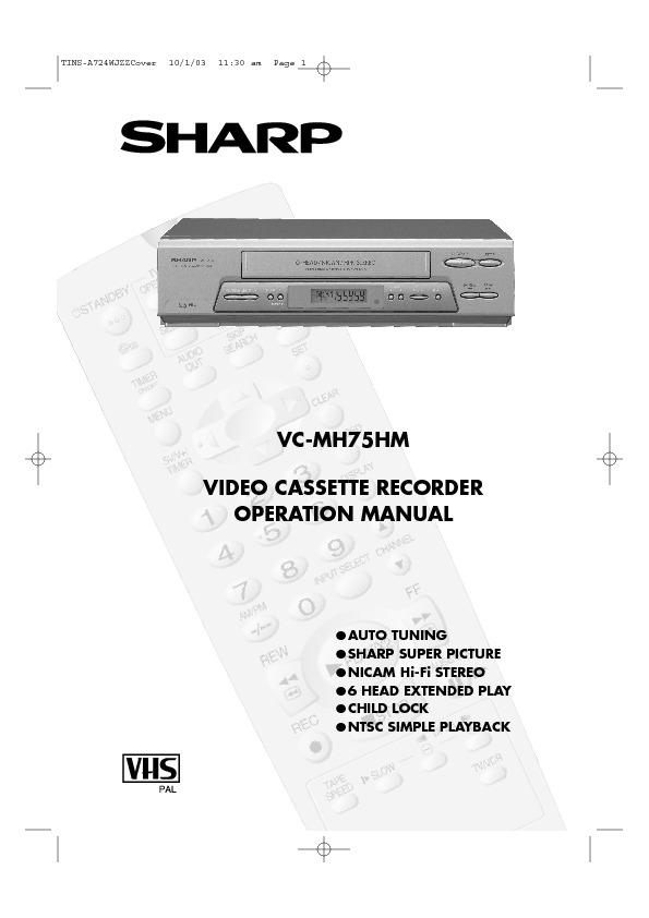 sharp vc mh75 serv man23 user guide operation manual view rh servlib com Sharp VCR 4 Head Sharp VCR Vc A410