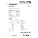 Sony BDV-E500W Service Manual