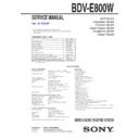 Sony BDV-E800W Service Manual