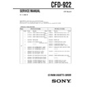 Sony CFD-922 Service Manual