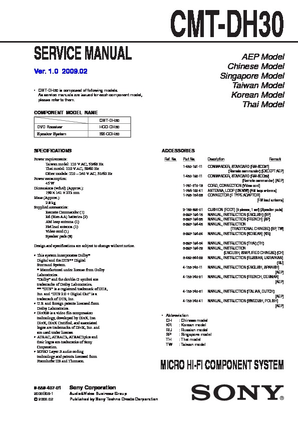 sony cmt dh30 service manual view online or download repair manual
