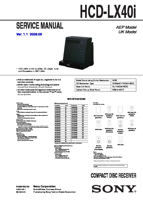 sony cmt lx40i hcd lx40i service manual view online or download rh servlib com Service Manuals 12H802 Manual